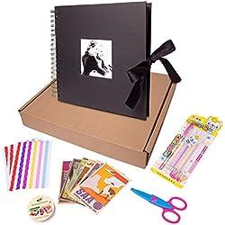 Laconile 25,4x 25,4cm 80Pages Fait à la Main DIY Scrapbooking Album Photo, Anniversaire de Mariage Voyage, Cadeaux d'anniversaire, Mariage, Livre d'or (Noir)