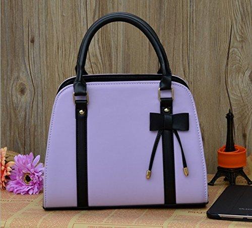 Whobabe Tote bag per le donne in pelle PU Hobo messenger borsa a tracolla con fiocco nero viola
