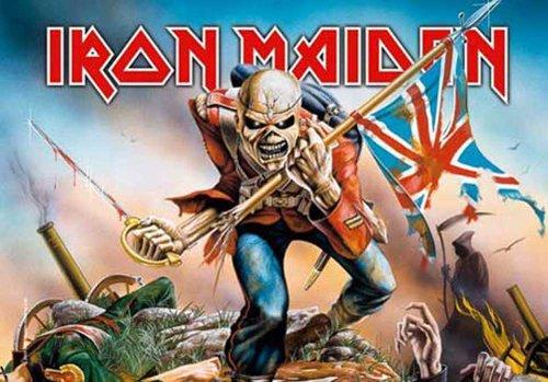Iron Maiden-Trooper-Bandiera Poster 100% poliestere-dimensioni 75x 110cm