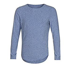 UJUNAOR Mode Herren Slim Fit O Hals Lange Ärmel Muskel T-Shirt Lässige Tops Bluse