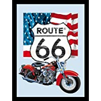 Ruta 66 – Bar Espejo (logotipo, bicicleta y bandera) (tamaño: 9