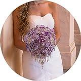 Wasserfall Kristall Lila Wedding Bouquet Bling Strass Perlen Handgefertigte Seide Orchideen-Blumen-Braut-Accessoires, Lila