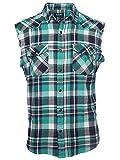 SOOPO Herren Ärmellose Kariert Flanell Hemden Freizeithemd aus Baumwolle Sleeveless T-Shirt (M, grün&weiß)