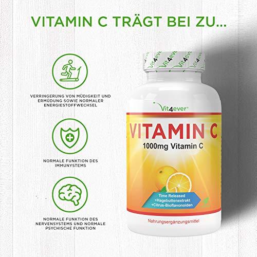 Vitamin C 1000mg, 365 Tabletten, Time Released Effekt, Vitamin C + Hagebuttenextrakt & Citrus-Bioflavonoide, vegane, hochdosiert, XXL Vorratspackung, Vit4ever - 4