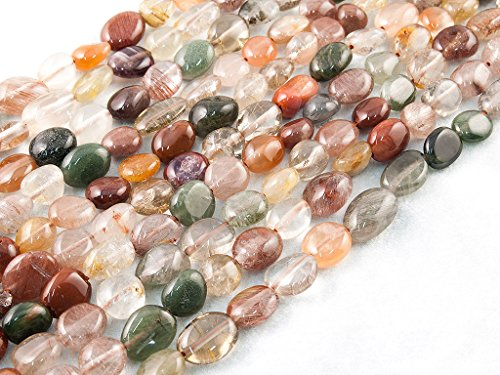 Green forest gems, diy, quarzo rutilato, colore misto, naturale, 7-10mm, pietre perlina di gemma semi preziose, liscio sassi / nugget, circa 40cm un filo. (rutilated quartz, mixed colour, natural, plain pebble semi-precious gemstone bead) (cliccate per vedere altre opzioni.)