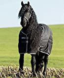 Horseware Stalldecke Rambo Stable Rug 400g - Black with Pale Grey & Grey, Groesse:155