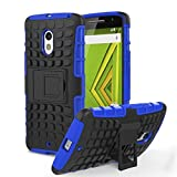 Chevron Tough Rugged Dual Layer Protective Case with Kickstand for Motorola Moto X Play (Blue)