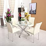 Minifair 3 Chrome Legs Round Glass Table + 4 X Creamy White Chairs Sets Dining Room
