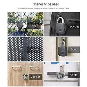 Enjoyall Cadenas Électronique Empreinte Digitale Verrouillage Télécommande par Smartphone Étanche Verrouillage Anti-Vol High Tech pour Valise Armoire Casier Placard