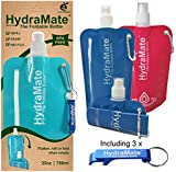 FOLDABLE WATER BOTTLE. BPA Free. 26oz/750ml. HydraMate lightweight, soft, squeezable,eco-friendly folding, collapisble bottle for travel. Sports cap, hygienic safety lid. Refillable. Carabiner clip.