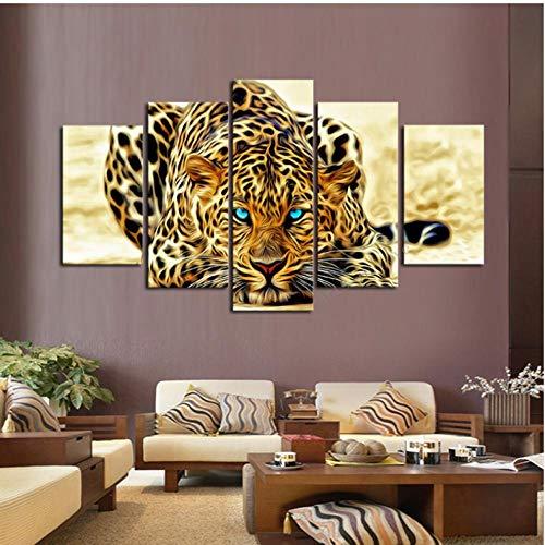 Leopard hot leinwand 5 wandbilder künstler wohnsitz dekoration panel poster bett zimmer rahmen - 40x60cmx2 40x80cmx2 40x100cmx1 -