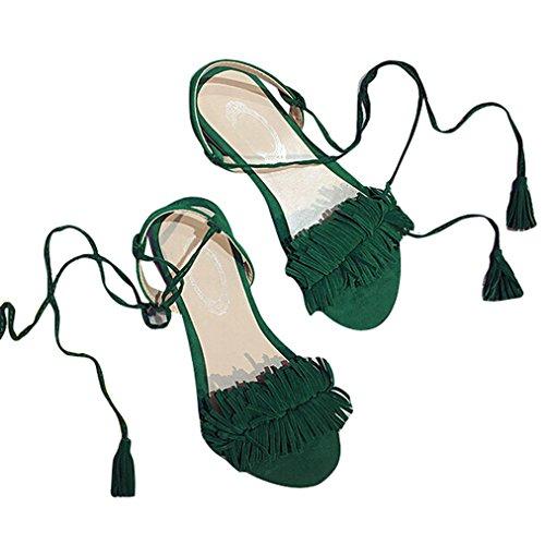 Vovotrade Frauen Strappy Fersen Pumps Sexy Hochzeit tragen Low Cut Cross Gürtelschnalle Schuhe Grün