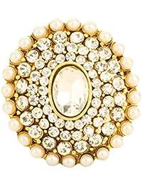 Bling N Beads Pearl Kundan Adjustable Big Rings For Girls Women
