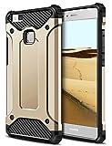 Huawei P9 Lite Hülle, Coolden® Premium [Armor Serie] Outdoor Stoßfest Handyhülle Silikon TPU + PC Bumper Cover Doppelschichter Schutz Hülle für Huawei P9 Lite (Gold)