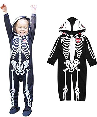 Weant Halloween Kostüm Baby Jungen Mädchen Neugeborenen Bodysuit Halloween Costume Kapuzenschädel Skeleton Spielanzug Zipper Overall Outfit (0-6 monate, (Skelett Kostüme Prinzessin)