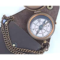 NEOVIVID Engravable Compass, Pocket Compass, Brass Compass with Leather Carry Case, Boy Scouts Compass, Eagle Scout Compass, Pirates Compass, Camping Compass, Gift Compass