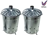 Srendi® 2 x 90 Litre 90L Extra Large Galvanised Metal Incinerator Recycle Garden Rubbish Fire Burning Bin with Lid