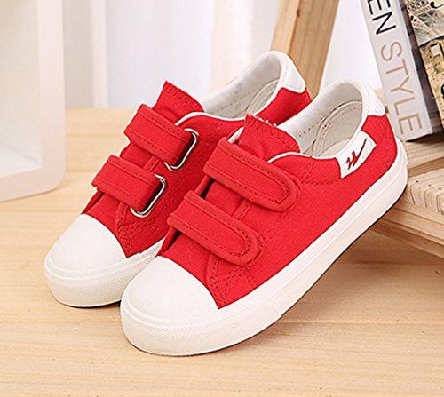 Unisex Kinder Espadrilles Schnellverschluss Canvas Rundzehen Frühling Sneakers Rot
