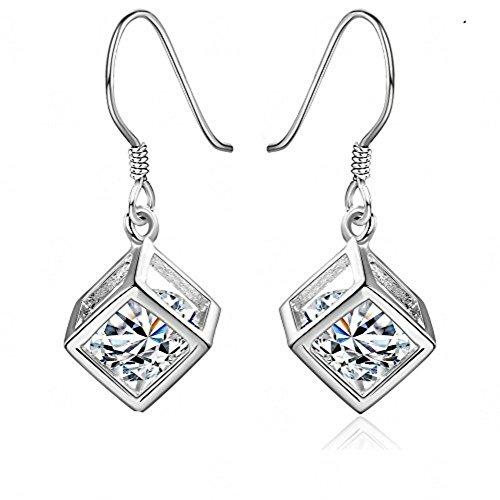 Ohrringe Silber Damen Mädchen Charme Glänzende Crystal Cube Anhänger Ohrhaken Weibliche Ohrstecker Ohringe Schmuck Party Kleidung Zubehör Geburtstags Geschenk für Frauen - Crystal Cube-anhänger