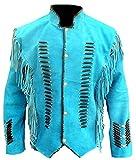 Classyak Herren Native Indianer Western Jacke aus Wildleder Fransen & Knochen Gr. X-Large, Suede Turquoise