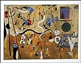quadri & cornici HB - Mirò ' Il carnevale di Arlecchino, 1925 ' quadro,stampa su legno, poster su legno, bordo nero
