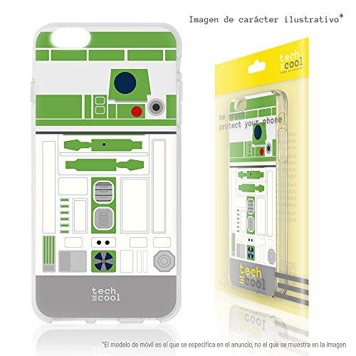 Cover iphone 7 plus funnytech® custodia in silicone (tpu) per iphone 7 plus [design esclusivo, stampa ad alta definizione] colori molto vivaci, flessible, sottile (1,5mm spessore) anti-urto [star wars robot r2-d2 vers.verde]