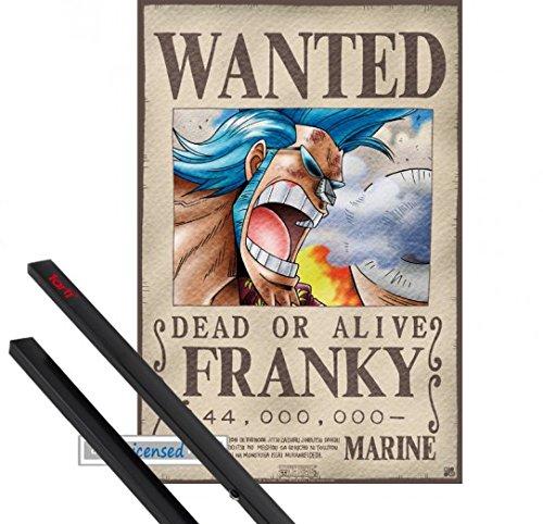 Poster + Hanger: One Piece Mini-Poster (52x35 cm) Wanted Franky Inklusive Ein Paar 1art1 Posterleisten, Schwarz