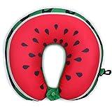 Nackenkissen für Kinder & Erwachsene - U-förmige Kissen Bestes für lange Flüge, Autoreisen Reise-Schlafen und zervikale Taillen-Unterstützung Perfektes Geschenk (30cm * 30cm * 4cm) (Wassermelone)