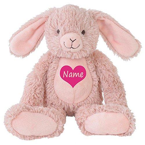 Stofftier Hase mit Namen personalisiert Geschenk altrosa 22cm