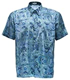 Herrenhemd Kurzarm Grafik gemustert (Hellblau, XL)