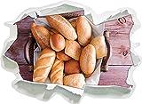 pain Brioche boulangerie petit-déjeuner de blé, papier 3D de taille de sticker mural: 62x45 cm décoration murale 3D Stickers muraux Stickers