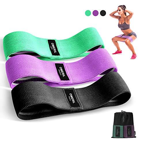 bande elastiche di resistenza, omeril set fasce elastiche fitness in tessuto (3 pezzi) con 3 livelli di resistenza, bande fitness resistenza antiscivoli per esercizi glutei, yoga, pilates, palestra