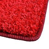 Shaggy Teppich Barcelona | weicher Hochflor Teppich für Wohnzimmer, Schlafzimmer und Kinderzimmer | mit GUT-Siegel und Blauer Engel | verschiedene Größen | viele moderne Farben | 100x150 cm | Rot