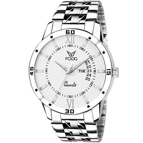Fogg Analog White Day and Date Men's Watch 2047-WH