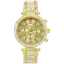 Gold Fashion Ladies Designer Geneva Acrylic Band Crystal Women Watch