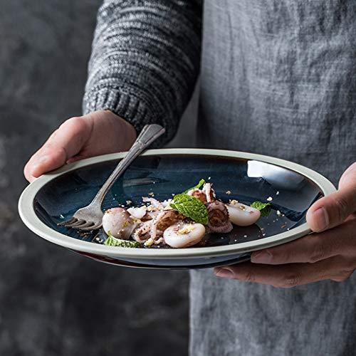 XIUXIU Ménage Simple Européenne Plat Assiette Gradient Bleu Céramique Western Steak Plate Assiette De Pâtes En Céramique (Taille : 23x3.3cm)