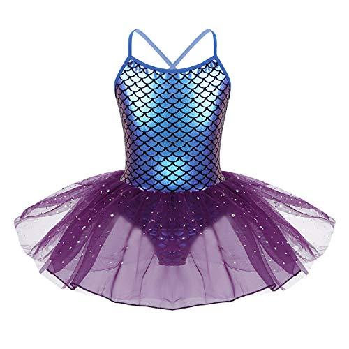 Kostüm Muster Tanzkleider - iiniim Kinder Kleid Mädchen Prinzessin Kleid Meerjungfrau Kostüm Ballerina Trikot Latein Tanzkleid Fasching Karneval Kostüm Partykleid Lila 128/8Jahre