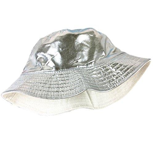 CADANIA Unisex Cute Cartoon Plane Print Hat Bucket Summer Fisherman Cap Outdoor Travel Silver