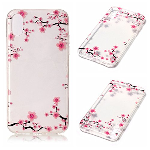 Cover Apple iPhone X, Voguecase Custodia Silicone Morbido Flessibile TPU Transparent Custodia Case Cover Protettivo Skin Caso (cuori rossi 05) Con Stilo Penna Plum 08
