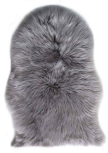 Yaer Künstlicher Nachahmung Lammfell Sofa Teppich, 60 x 90 cm Lammfellimitat Teppich Longhair Fell Optik Nachahmung Wolle Bettvorleger Sofa Matte (Grau, 75 x 120 cm) Nylon Wolle Fell