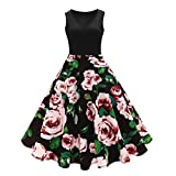 Search : Pingtr Hepburn Vintage Dress, 20's-50's Women Retro Floral Printing Sleeveless Dress High-Waist Pleated Dress Rockabilly Swing Party Dress