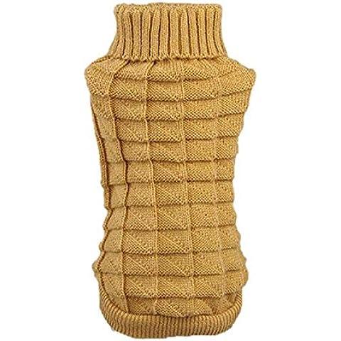 SAMGU Cucciolo vestiti abbigliamento crochet Maglione Cappotto maglione caldo per cani e animali domestici color giallo size Large