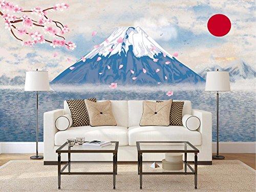 WH-PORP Benutzerdefinierte 3D Tapete japanischen Stil Fujiyama Cherry Tv 3D Hintergrund Wand-400cmX280cm