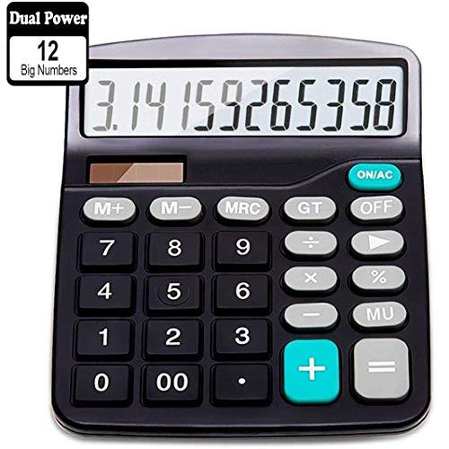 Taschenrechner, Standard Taschenrechner, Große Tasten Großes Display Tisch Rechner, Solar und Batterie Bürorechner, 12 Stellig Rechenmaschine, Schwarz