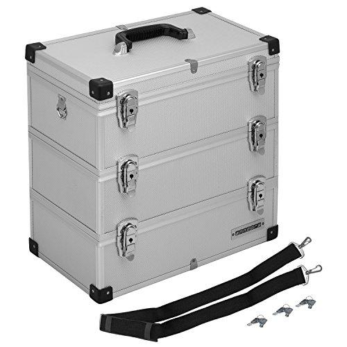 anndora Werkzeugkoffer 32 Liter Angelkoffer Etagenkoffer 3 Ebenen Silber Alu