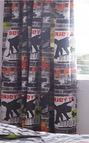 Kidz Club 168 x 183 cm Tricks doublé Paire de rideaux plissés prête à, gris