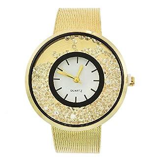 MJartoria-Damen-Armbanduhr-Quarz-Uhr-Modeschmuck-Milanaiseband-Mode-Design-mit-Strass-Silber-Farbe