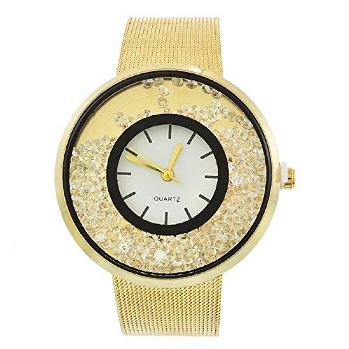 MJartoria Damen Armbanduhr Quarz Uhr Modeschmuck Milanaiseband Mode Design mit Strass Silber Farbe (Gold)
