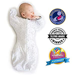Amazing Baby by Swaddledesigns, Saquito de Algodón de Transición Para Bebé con Manoplas y Movimiento Libre Swaddle Sack with Arms Up, Confeti, Plata, Mediano 3-6 Meses