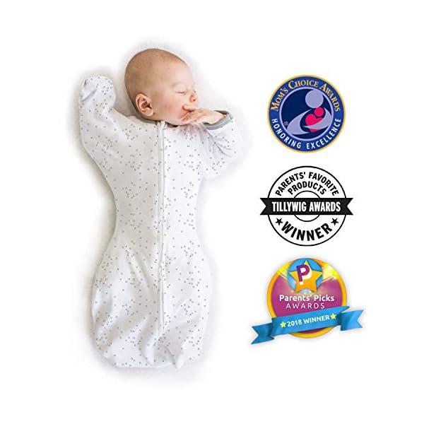 Amazing Baby - Saco de dormir para bebé con brazos, Elefantes pequeños azules, Azul, Medium (3-6 Month) 1